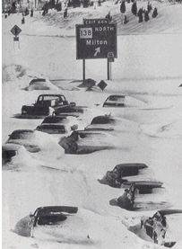 This is a photo of stranded cars during the Blizzard of '78.