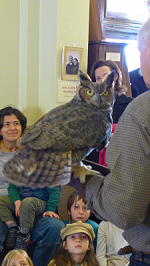 Photograph of Tom Ricardi with Great Horned Owl